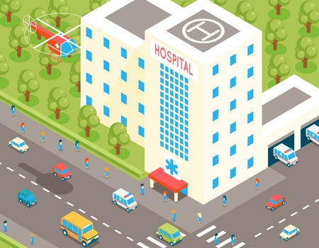 car care center: Isometric hospital and ambulance building with parking and 3d cars. Vector illustration in flat style. Health and medicine, architecture medical, helicopter transportation to clinic