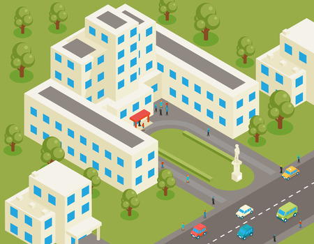 college students on campus: Isometric 3d flat university or college building. Student and architecture house, street and park, structure estate, tree and road, vector illustration