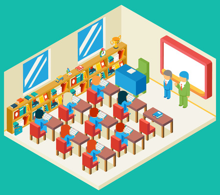 students in class: Education and school class isometric 3d concept. Bookshelf and teacher, pupil and isometric people, classroom and children, vector illustration