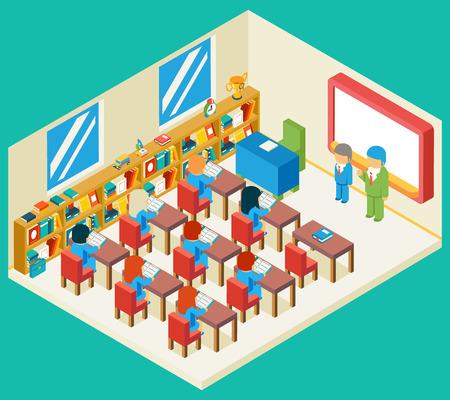 scuola: Educazione e scuola di classe concetto 3d isometrico. Bookshelf e insegnante, allievo e gente isometrica, in aula e bambini, illustrazione vettoriale Vettoriali