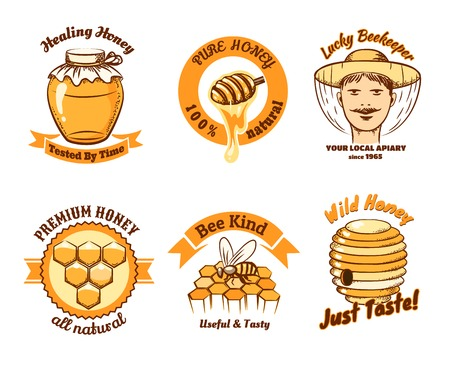Honey labels and beekeeping logo. Food sweet, insect and cell, honeycomb and beeswax, comb and wax. Vector illustration Çizim