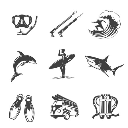 surf silhouettes: Beach icons black set. Summer, vacation and tourism signs. Leisure and  hunting, dolphins and sharks, fins and scuba, spearfishing surfing and diving. Vector illustration Illustration