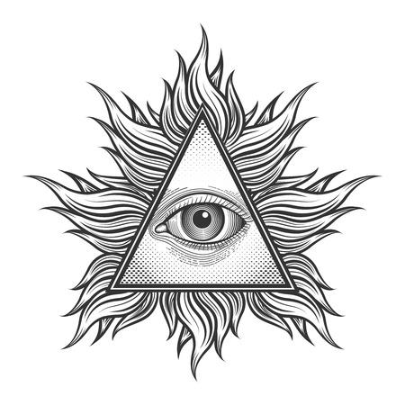 ojo: Todo viendo símbolo de la pirámide del ojo en el estilo del tatuaje grabado. Masón y espiritual, illuminati y la religión, la magia triángulo, ilustración vectorial