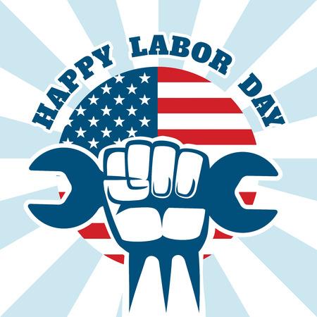 幸せな労働者の日および労働者は右ベクトル ポスターです。お祝い建設ツールは手にレンチします。ベクトル図