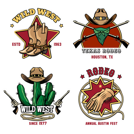 cowboy: Retro cowboy rodeo emblem set. Hat and american badge western. Vector illustration