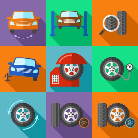 llantas: Iconos del servicio de la rueda del neumático establecen en estilo diseño plano. Calibración de coches, jack y puesta a punto, corregir y la bomba de presión, ilustración vectorial Vectores
