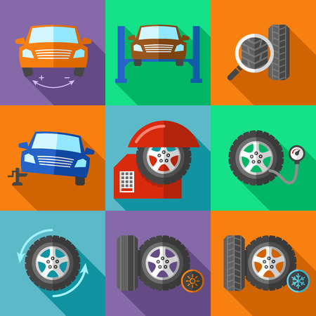 car tire: Tire wheel service icons set in flat design style. Car calibration, jack and tuning, fix and pump pressure, vector illustration Illustration