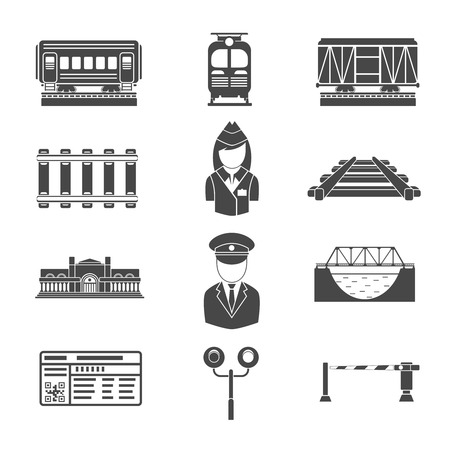locomotion: Set of railway black icons. Transportation and rail road, vector illustration
