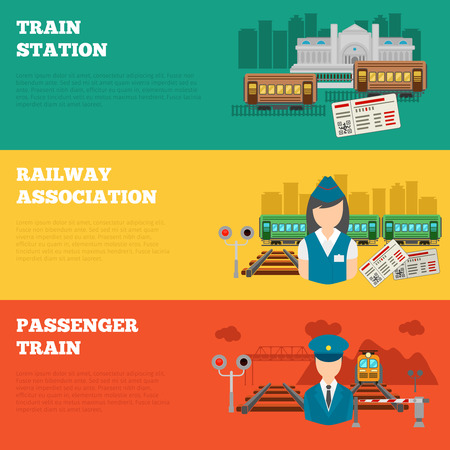 railway transportation: Set of railway banners. Transport and travel train, logistic and  transportation. Vector illustration