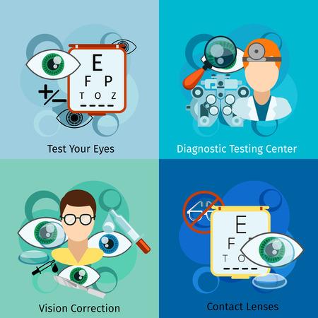 oculist: Conceptos Oftalmología. Ojo y oculista, vista la corrección, la salud y la optometría. Ilustración vectorial Vectores