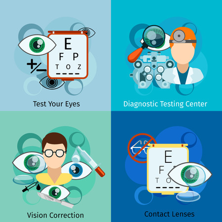 diagnosis: Ophthalmology concepts. Eye and oculist, correction eyesight, healthcare and optometry. Vector illustration Illustration