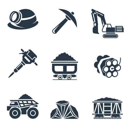 underground: Coal industry icons. Jackhammer and dynamite, underground and pick, trolley and helmet, vector illustration Illustration
