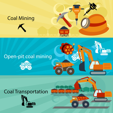 mining equipment: Coal industry banners set. Power and open pit, technology production, jackhammer pick and dynamite. Vector illustration