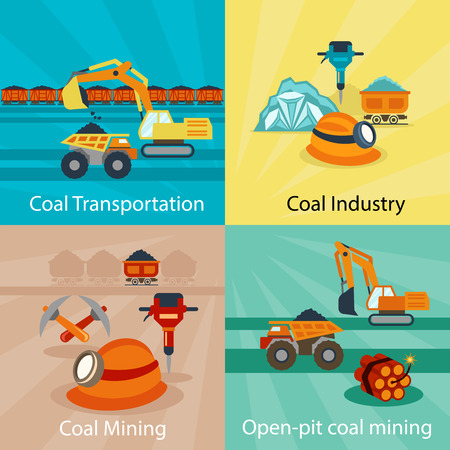 power industry: Coal industry vector concepts. Power energy, technology production fuel, mine open pit. Vector illustration