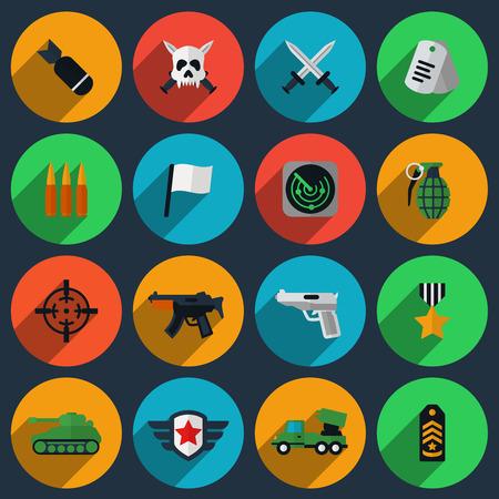 wojenne: Zestaw armii i wojennych ikon. Bomba i radar, medalion i granat, broń balistyczna, pistolet i biała flaga. ilustracji wektorowych
