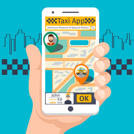 Taxi mobile app template set. Smartphone and touchscreen, map and pointer, gps navigation. Vector illustration