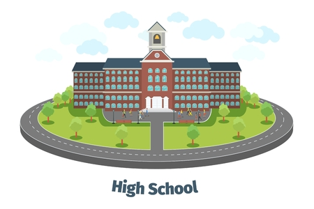 high school: High school or university building. Educational concept background. Education flat design, graduation and university study, student learning. Vector illustration