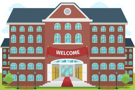 an exterior: Welcome to high school. University study, architecture construction building, exterior and front, vector illustration