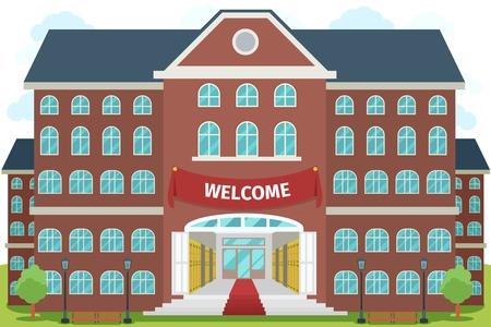 Willkommen in der High School. Studium, Architektur Bau Gebäude, außen und vorne, Vektor-Illustration Standard-Bild - 43676080