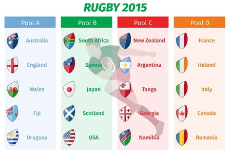 world cup: Rugby World Cup 2015 Pool A B C D teams vector set. Group sport, championship game, tournament international
