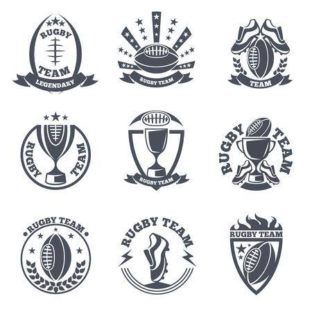 pelota rugby: Equipo de Rugby insignias de vectores y logotipos. Deporte fútbol, ??bola emblema ilustración