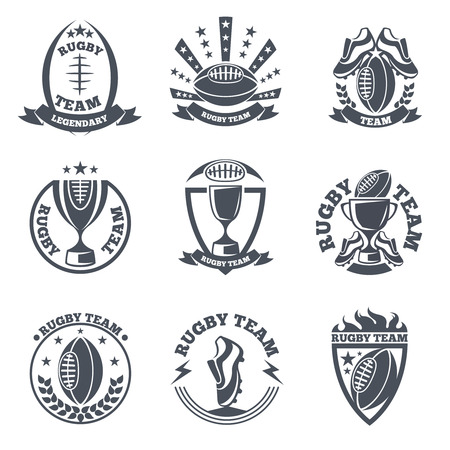Rugby team vector badges and logos. Sport football, emblem ball illustration Illustration