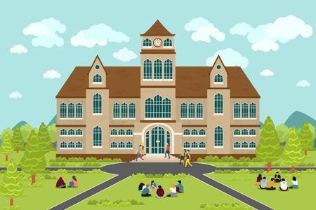 Universidad o un edificio de la universidad. Estudiante de Educación, el diseño del campus plana, universidad graduación, ilustración vectorial