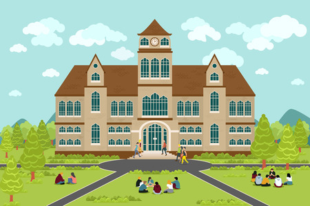 university building: University or college building. Education student, flat campus design, graduation university, vector illustration