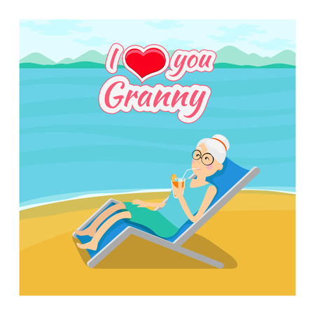 grandmother: Vector grandparents day background. I love you grandma post card. Grandmother cartoon, drinking cocktail lying illustration Illustration