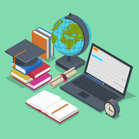 studies: Isometric education vector concept. 3d back to school background in flat style. Object pencil, element for lesson, book and laptop illustration