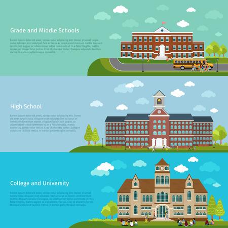 graduacion de universidad: Educaci�n escuela, de la escuela secundaria y estudios universitarios banners. Estudiante y escuela, la graduaci�n y la arquitectura la construcci�n de edificios, ilustraci�n vectorial