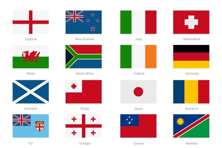 england: Flags in flat style. England and Wales, Scotland and Ireland. Set of collection state, vector illustration