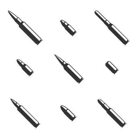 weapons: Vector set of black bullet icons. Military ammunition, caliber gun, danger weapon, contour patron illustration Illustration