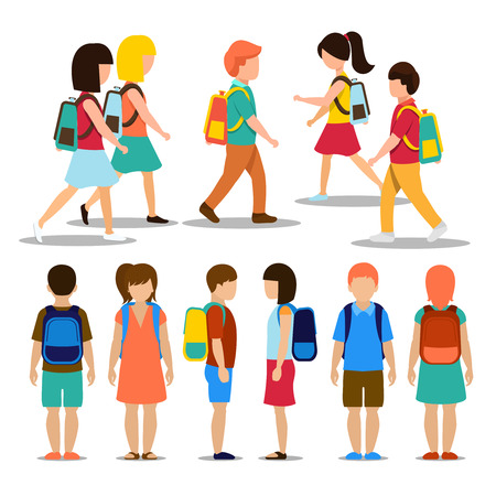 niños saliendo de la escuela: Los niños van a la escuela. Estudiante y alumno, la gente de educación persona, ilustración vectorial