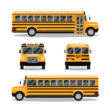 front side: School bus. Transportation and vehicle transport, travel automobile, vector illustration