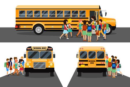 子供たちは学校のバスに乗ります。交通生徒または学生、交通機関と自動車。ベクトル図