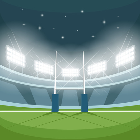 goal: Rugby stadium with lights at night. Night light, game and goal, floodlight bright, spotlight and ground, vector illustration