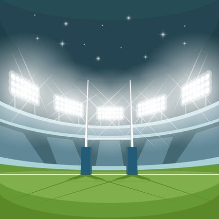 campo di calcio: Stadio di rugby con le luci di notte. Notte di luce, gioco e gol, proiettore luminoso, riflettori e terra, illustrazione vettoriale
