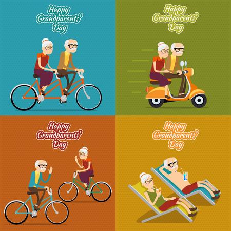 Abuelos felices día fondo vector, cartel o tarjeta postal. La abuela y el abuelo, la gente vieja mujer y hombre ilustración conjunto Foto de archivo - 43676131