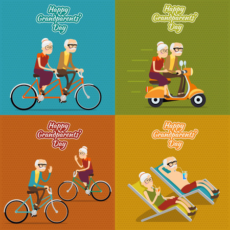 mopeds: Happy grandparents day vector background, poster or post card. Grandmother and grandfather, people old woman and man illustration set