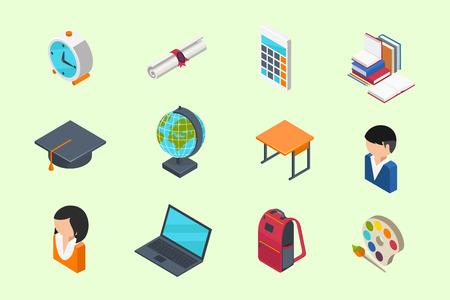 birrete: Educación y Escuela isométricos iconos 3d fijaron en estilo plana