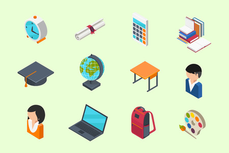 flat cap: Education and School isometric 3d icons set in flat style