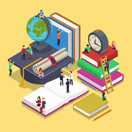 教育: 等距畢業教育觀念與人平矢量風格。回到學校三維圖。人的學生,學生,知識和大學說明
