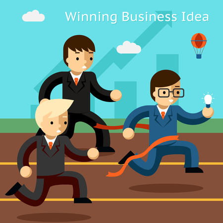 winning idea: Winning business idea. Success in innovation running. Win leadership, leader and achievement, run businessman, vector illustration