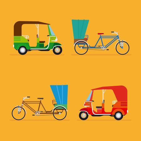 rikscha: Indische Rikscha. Auto-Rikscha und Fahrradrikscha. Reiseverkehr Taxi, Tourismus und Fahrzeug, Vektor-Illustration