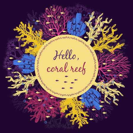 reef: Coral reef invitation card template.