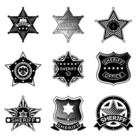 Conjunto de sheriff vector o insignias mariscal y las estrellas. Ilustración de vector