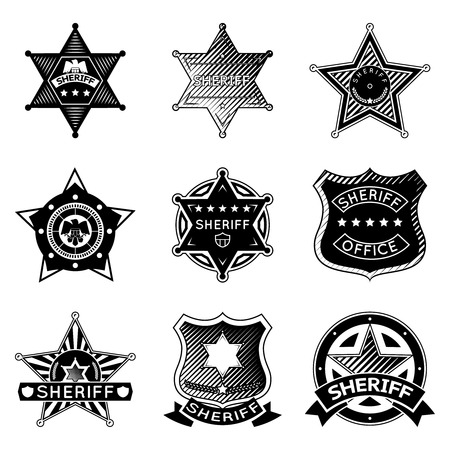 sheriff badge: Set of vector sheriff or marshal badges and stars.