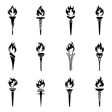 flames icon: Torch icons set.