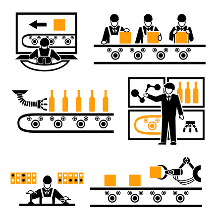 Manufacturing plant: Factory production process icons set.